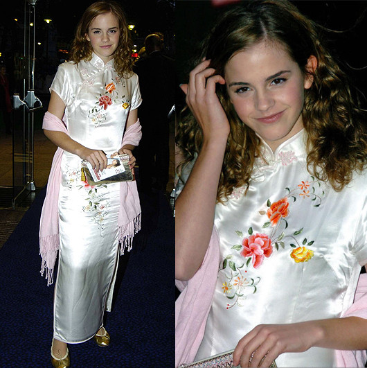 Emma Watson wearing a white embroidered qipao dress